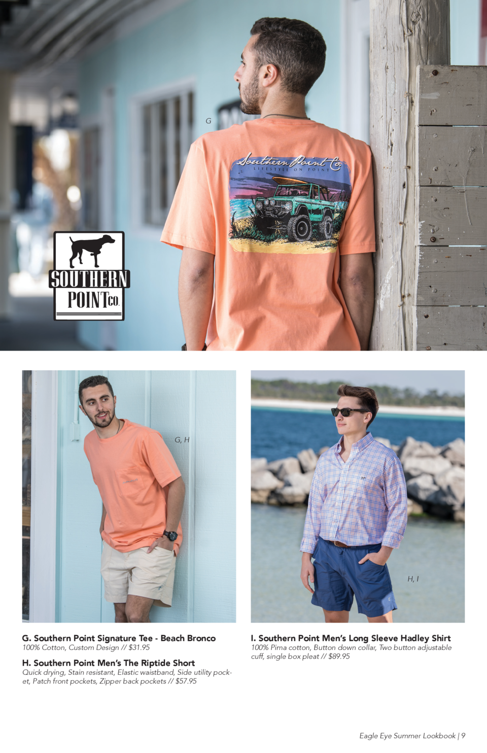 G  G, H  H, I  G. Southern Point Signature Tee - Beach Bronco 100  Cotton, Custom Design     31.95  H. Southern Point Men ...